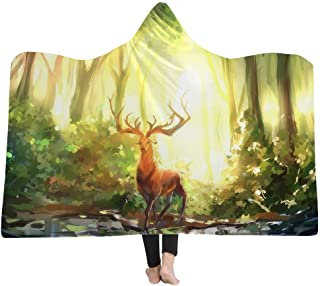 YJZ Bosque Manta con Capucha 3D Suave Sherpa Mantas de Lana para Adultos Cozy Batas de baño Capucha Manta de baño con Capu...
