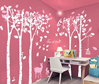 Mix Decor Tree Wall Decal - 5 Trees Wall Sticker Large Family Forest Deer Woodland for Livingroom Kid Baby Nursery Room Decoration Gift,102x72 Inch * 1 PCS,White Pink