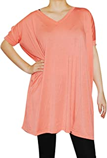 Women's Famous V-Neck Tunic Top Short Sleeve Bamboo Top Loose Fit