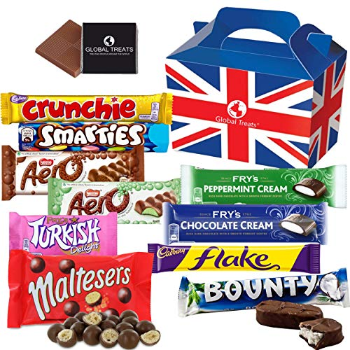 British Chocolate Bar Selection Box - 10 FULL SIZE Chocolate bars of delicious Chocolate candy from the UK with unique Gift Box and a free British Chocolate.