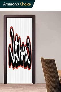 Door Wall Door Decals Wall Stickers Decor, Boys Name Graffito Art Door Stickers Self Adhesive Door Cover Removable 3D Art Wallpaper, 30.3W x 78.7H Inches
