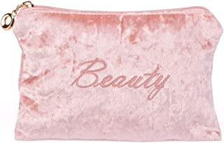 Ideayard Cosmetic bag | Portable Makeup Bag | Baby Pink | Made from Comfortable Velvet