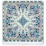 100% Wool Pavlovo Posad Russian Shawl Mystery in Blue 50?50'' (125?125 cm)