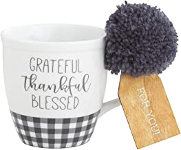 Collins Painting Fall Thanksgiving and Christmas Theme Mugs with Gift Tag, 18 oz. - Novelty Coffee Mugs - Christmas Coffee Cup - Hot Coco Mug - Christmas Tea Mug (Grateful, Thankful, Blessed)