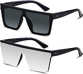 Sponsored Ad - Square Oversized Sunglasses for Women Men Big Flat Top 2 pack Fashion Shield UV400 Protection