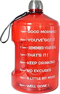 BuildLife 1 Gallon Water Bottle Motivational Fitness Workout with Time Marker/Drink More Daily/Clear BPA-Free/Large 128OZ /73OZ /43OZ Capacity