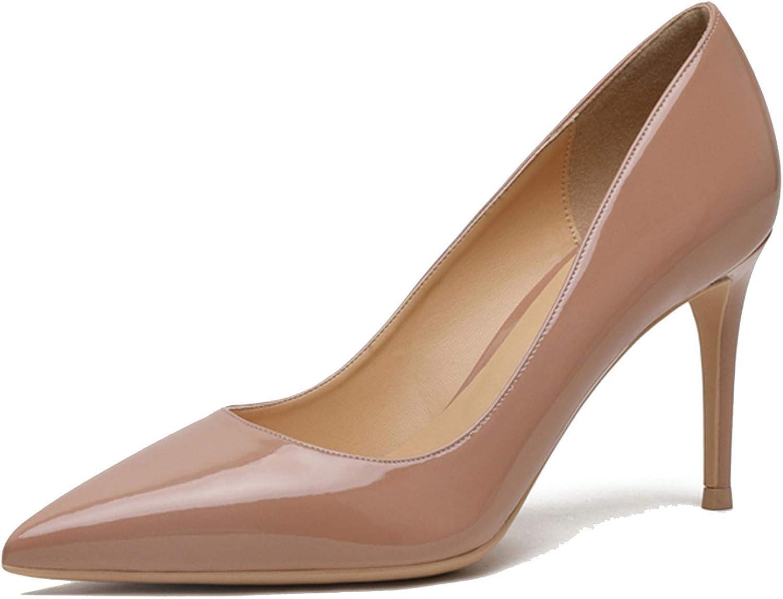Smile-bi Women Pumps Nude Patent Leather Fashion Ladies shoes 8CM Thin Heel shoes for Women,K-318