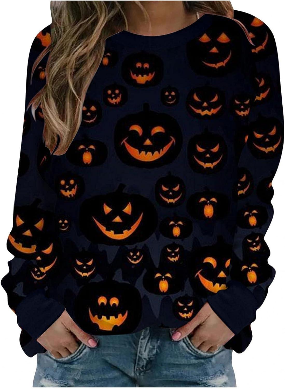 FABIURT Halloween Shirts for Women,Womens Long Sleeve Pullovers Crewneck Pumpkin Bat Printed Sweatershirt Tunic Tops