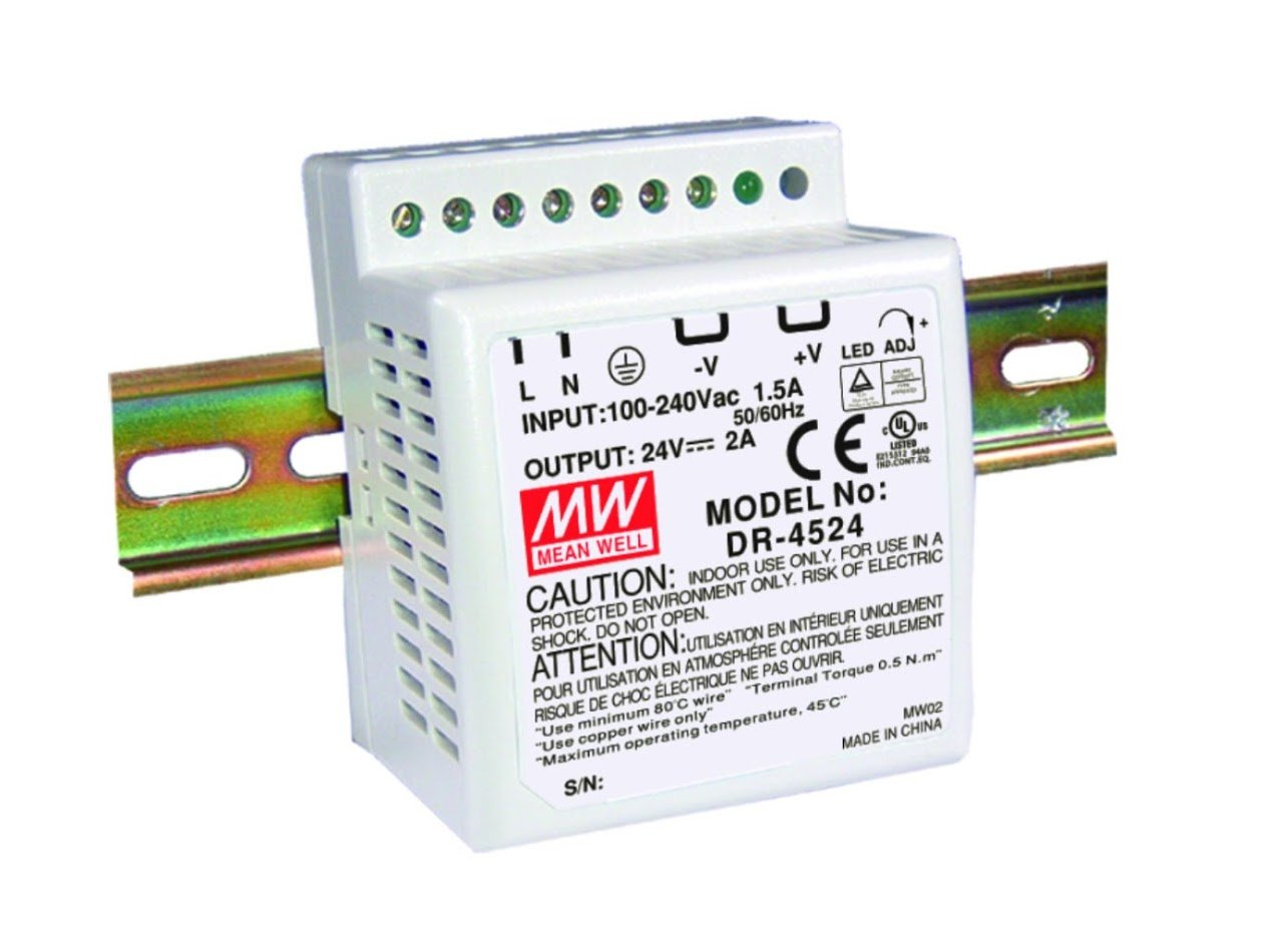 DIN Rail PS 48W 24V 2A DR-4524 Meanwell AC-DC SMPS DR-45 Series MEAN WELL Switching Power Supply