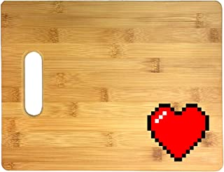 8-Bit Heart Video Game Thick 3D COLOR Printed Bamboo Cutting Board - Wedding, Housewarming, Anniversary, Birthday, Mother`s Day, Gift