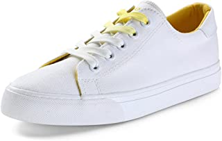 Women's Canvas Shoes Fashion Flat Sports Shoes Outdoor Student Casual Lace up Shoes (Color : Yellow, Size : 39)