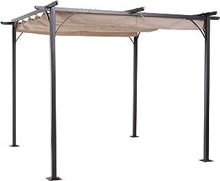 Outsunny Pérgola de Metal 3x3m Gazebo Cenador para Jardín