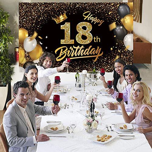 Cartel de fondo para cumpleaños con texto en inglés 'Happy 18th Birthday', extra grande, negro y dorado para hombres y mujeres, fiesta de cumpleaños, fotomatón de fondo, banner de decoración