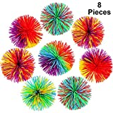 8 Pieces Monkey Stringy Balls Sensory Fidget Stringy Balls Soft Rainbow Pom Bouncy Stress Balls with Storage Bag, Multicolor (2.75 Inch 8 Pieces)
