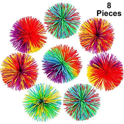 8 Stücke Affe Stringy Balls Sensory Fidget Stringy Balls Weiche Regenbogen Pom Bouncy Stress Balls mit Aufbewahrungstasche, Mehrfarbig (8 Stücke)