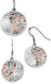 Sterling Silver Rose-tone Sparkle-Cut and L C Rhodium-plated Earrings Pendant Set