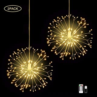 2 Pack 198 LED Firework Copper Lights,8 Modes Dimmable Battery Operated Party Hanging Lights Wedding Christmas Home Garden Bedroom Outdoor Indoor Decorations with Remote Control, Warm White