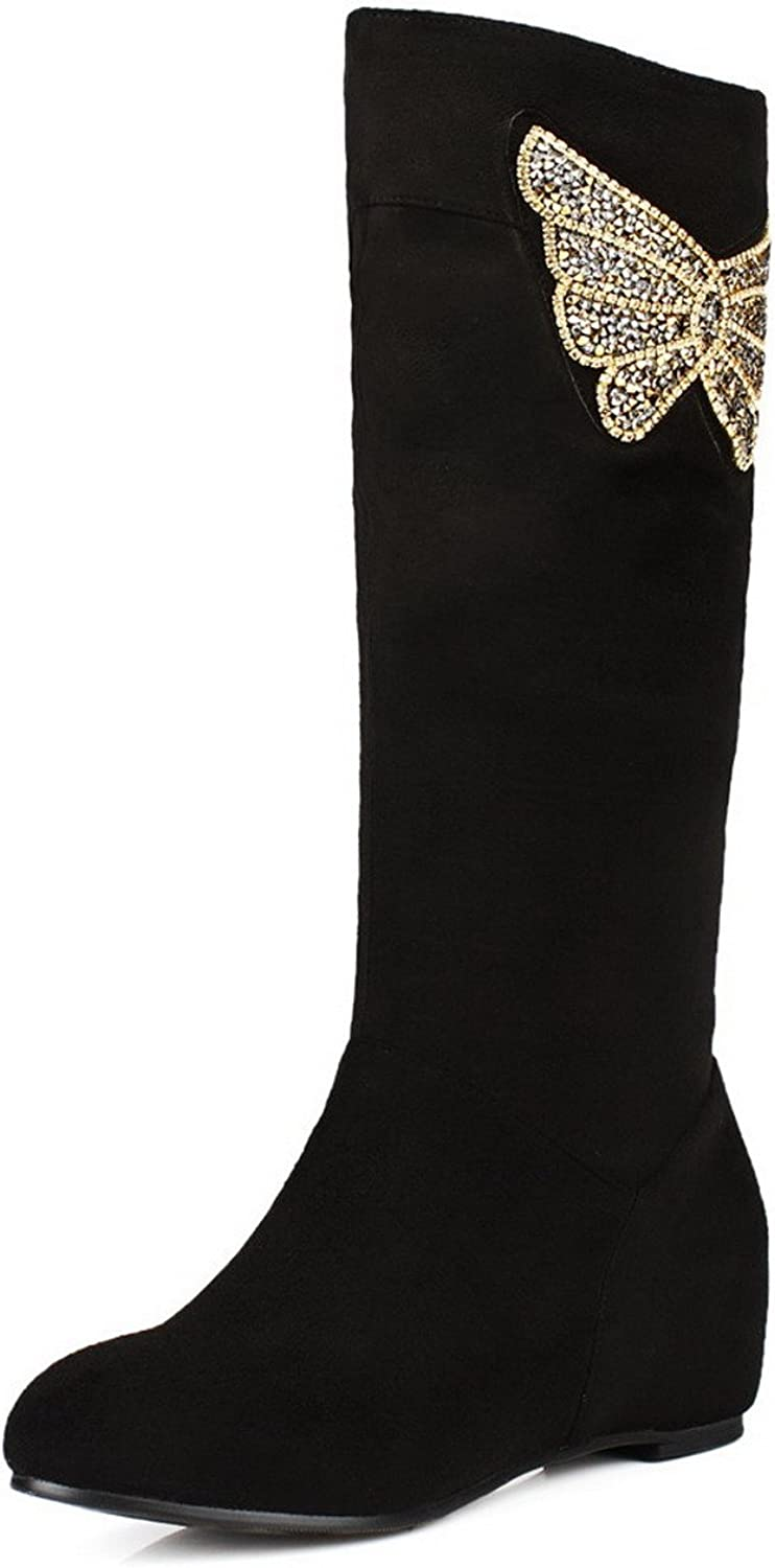 AmoonyFashion Womens Round Closed Toe Kitten Heels Synthetic Solid Boots with Rhinestones and Glitter, Black, 7.5 B(M) US