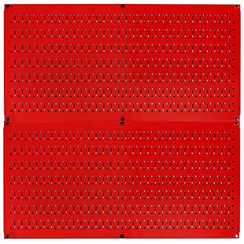 Wall Control Pegboard Rack Horizontal Metal Pegboard Garage Tool Storage Pack - Two 32-Inch Wide x 16-Inch Tall Easy to Install Peg Boards (Red)