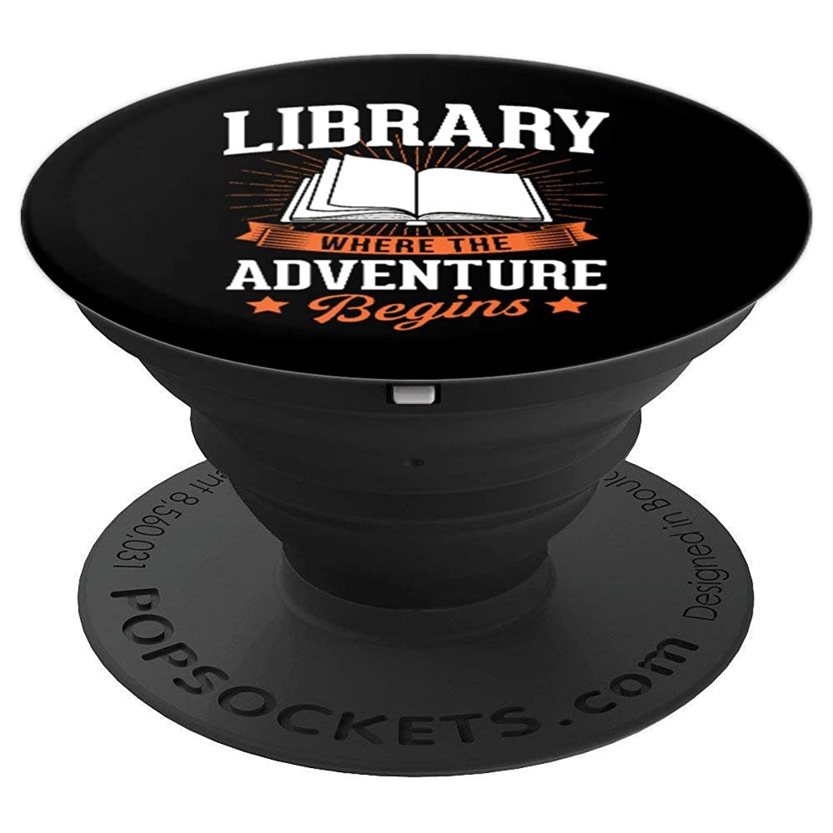 Library Where The Adventure Begins Funny Librarian Gift PopSockets Grip and Stand for Phones and Tablets