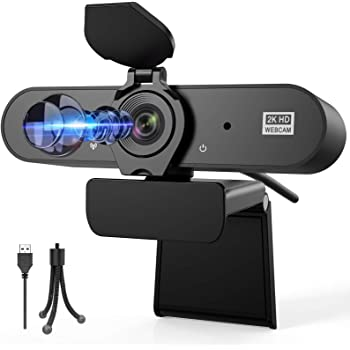 Webcam with Microphone, Aufixy 2K HD Webcam with Privacy Protection Streaming USB Webcams Camera for PC Video Conferencing Calling Gaming, Laptop Desktop Mac Skype/YouTube/Zoom-Plug and Play