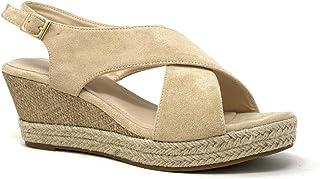 Chaussure Mode Sandale Espadrille Folk//Ethnique de Plage Boh/ème Femme Lani/ères crois/ées avec de la Paille tress/é Talon compens/é Angkorly