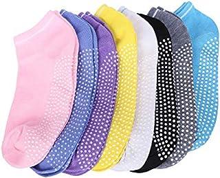 8 pares de calcetines de algodón antideslizantes para mujer y niña, para yoga, masaje, ejercicio, gimnasio, danza, tobillo, agarre con puntas de goma. Varios colores