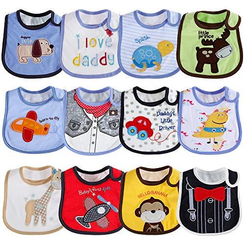 Lictin Baberos de Bebé-12pcs Baberos de Bebé para Niños Baberos de Bebé Impermeables con Diferentes Estampados Ajuste Unisexo para Bebé de 3-24 meses