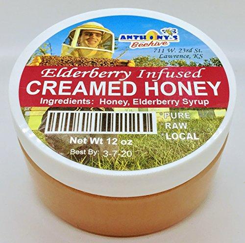 Raw Pure Gourmet Elderberry Infused Creamed Honey 10 oz jar