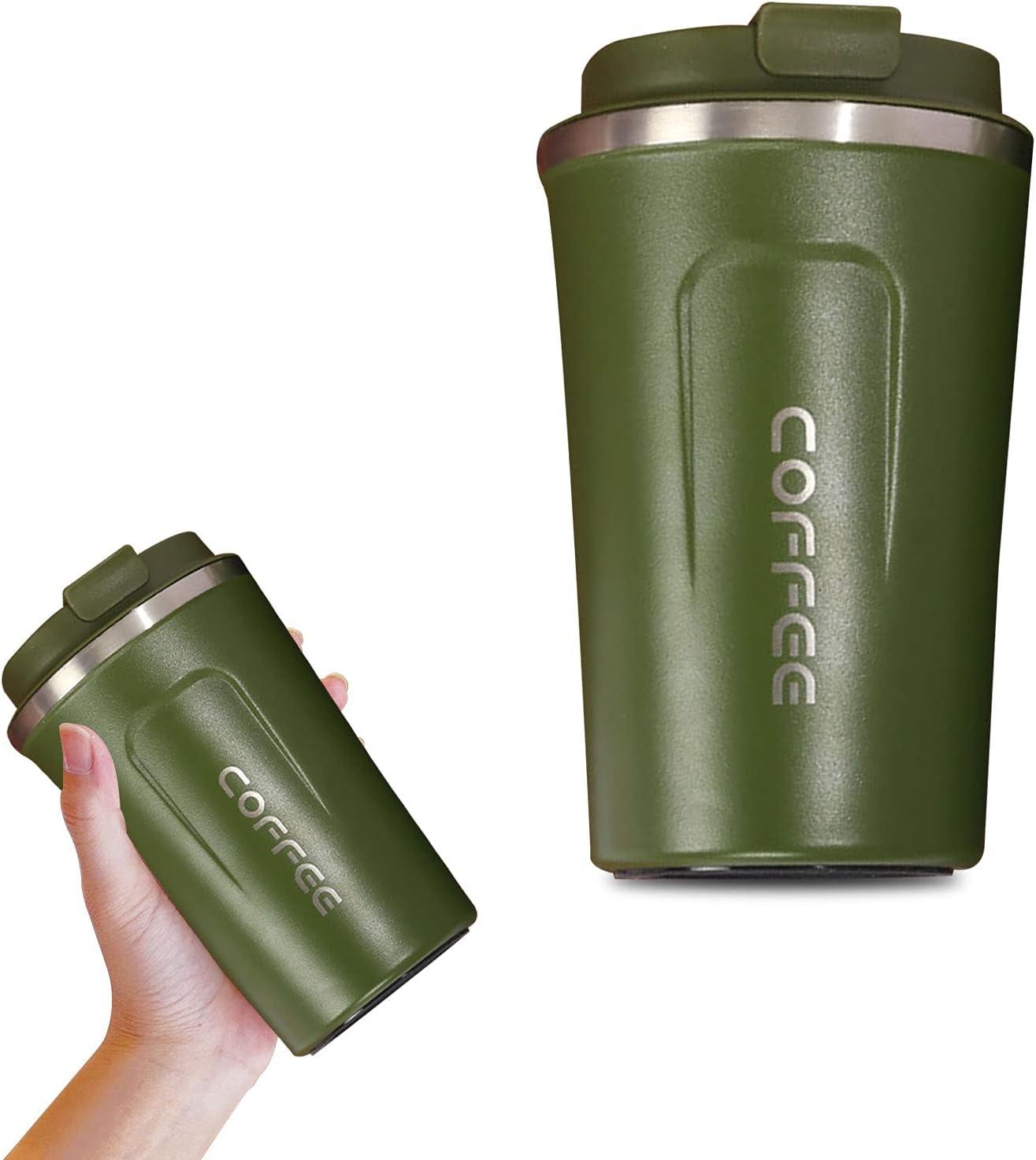 HOSPAOP Taza de café To Go de 380 ml, termo de acero inoxidable con tapa, Travel Mug para café y té, termo a prueba de fugas, taza de viaje (verde militar)