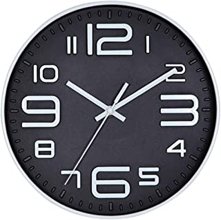 Foraineam 12-Inch Wall Clock Silent Non-Ticking Battery Operated Decorative Quartz Clock with Big 3D Numbers