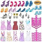 50PCS Ropa Zapatos y Accesorios para Muñeca con 10 Mini Vestidos de Moda, 10 Zapatos de París, 10...