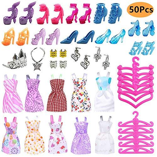 50PCS Ropa Zapatos y Accesorios para Muñeca con 10 Mini Vestidos de Moda, 10 Zapatos de París, 10 Perchas y 10 Joyas Pendientes Collar Accesorios para Muñecas de Juguete Niñas Regalo de Cumpleaños