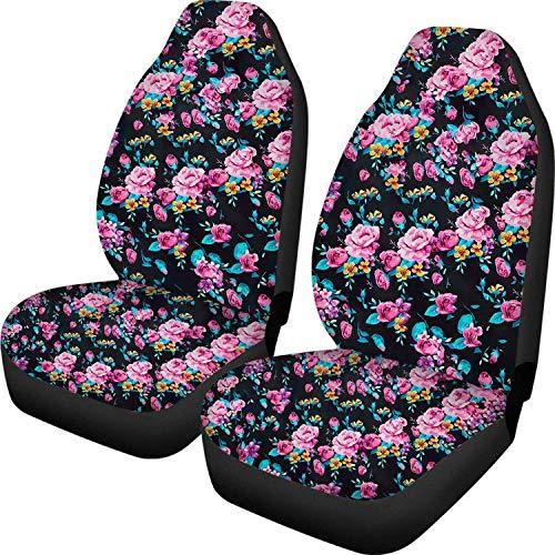 Romance-and-Beauty Cactus Car Seat Covers Fashion Cactus Car Accessories Fit Most Cars, Sedan, SUV,Van 2PCS