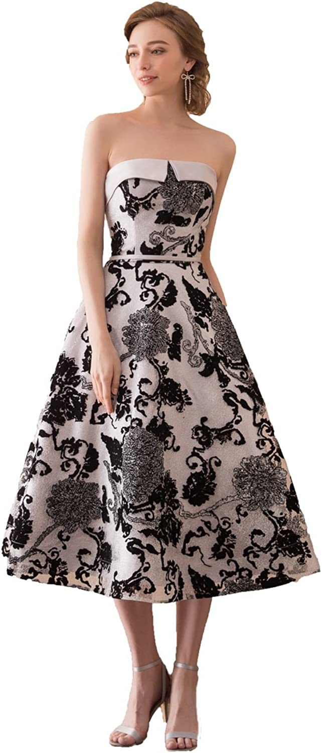 Graceprom Elegant Tea Length Embroidery Floral Evening Dress Prom Gown