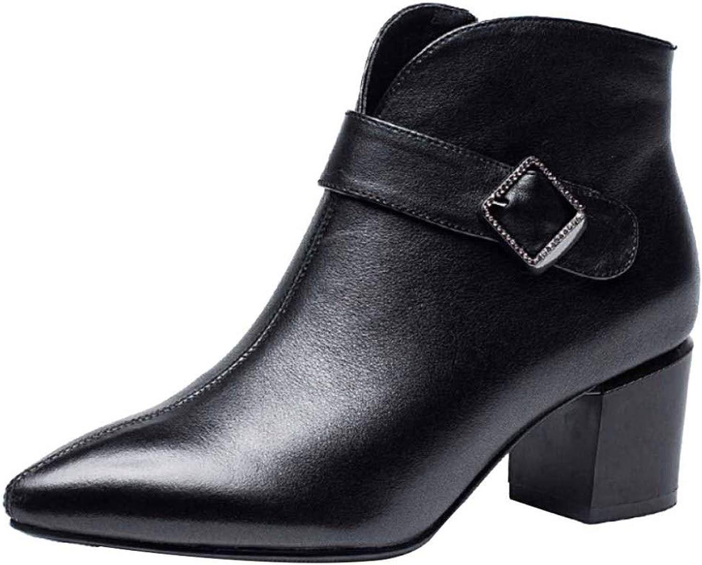 Miss Li Damen Leder Stiefeletten Herbst Und Winter Spitzen Reiverschluss High Heel Stiefelies Work Utility Schuhe