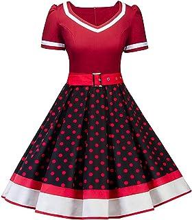 764a2e79f28 Nihsatin Women s Audrey Hepburn Vintage Style Rockabilly Swing Dress