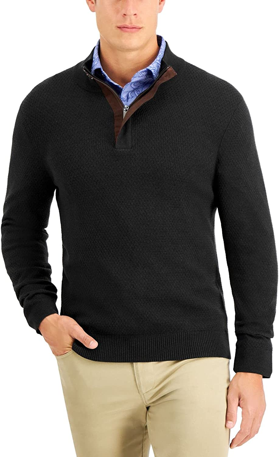 Tasso Elba Max 84% OFF Mens Sweater Large Special Campaign Pullover 1 Ribbed-Trim Black Zip 4