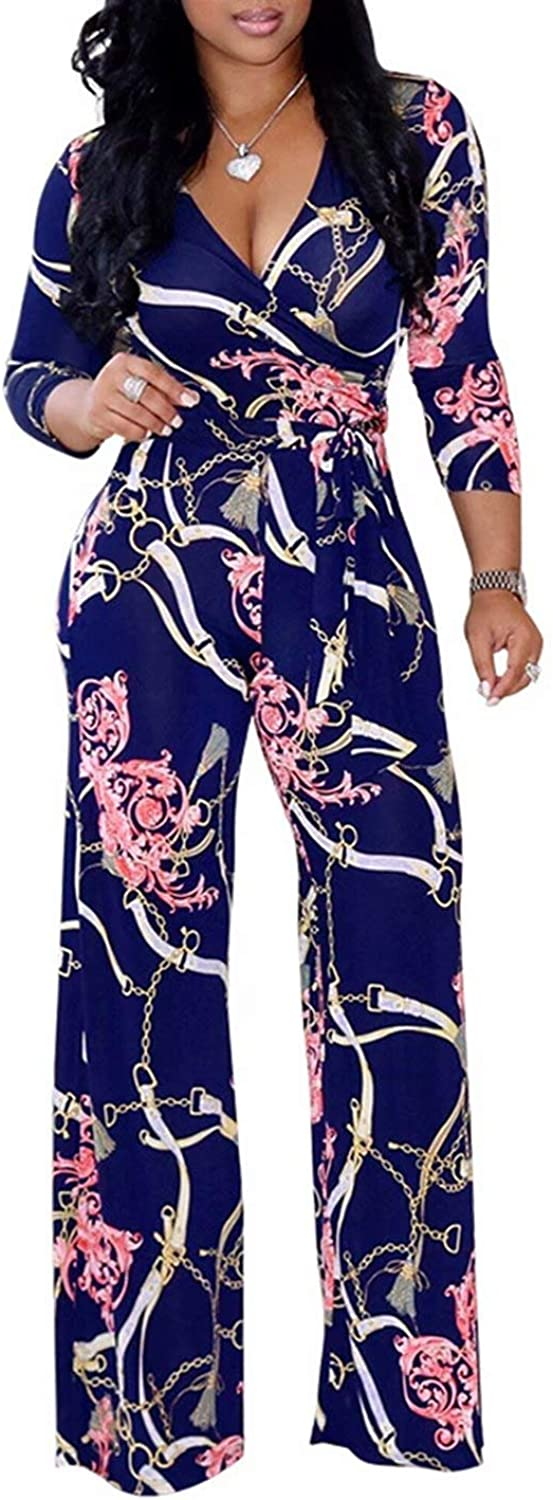 FOUNDO Women's V Neck Short Sleeve Tropical Floral Bodycon Jumpsuit Romper Pants
