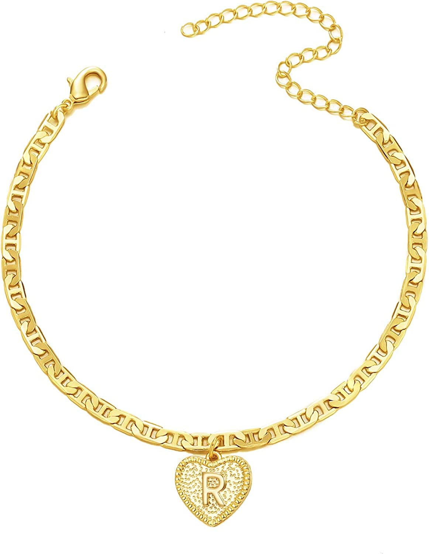 iDIMSON Complete Free Shipping Gold Heart Initial Anklet Bracelet G Women Philadelphia Mall for 14k Girls