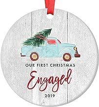 Engagement 2019 Christmas Ornament 1st Christmas Engaged Couple Future Newlywed Gift Idea Rustic Country Farmhouse Ceramic Holiday Keepsake 3