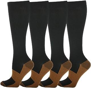 HLTPRO, Calcetines de compresión para mujeres y hombres circulación, 4 pares para enfermera, médico, vuelo, correr, S-M, negro, amarillo,