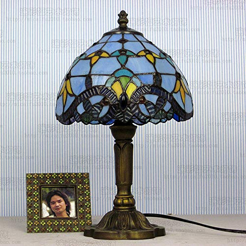 8-inch verlichting mediterrane glas in lood lampenkap tafellamp landelijke stijl nachtlamp