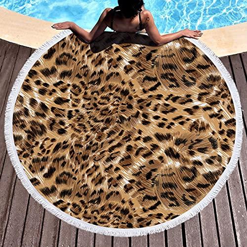 Toallas De Playa Redondas De Leopardo, Esterillas De Playa Absorbentes De Microfibra De Secado Rápido, Esterillas De Picnic Y Mantas De Playa A Prueba De Arena 150 * 150cm
