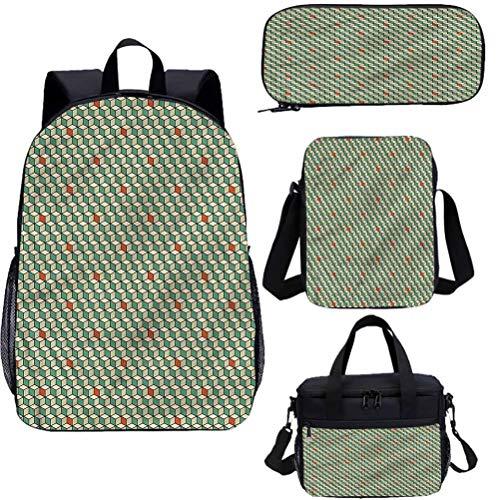 Juego de mochila geométrica de 38 cm para adolescentes, composición de cuadrados de bolsa escolar para trabajo, escuela, viajes, picnic