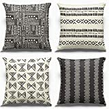 PARTY BUZZ Rustic Tribal Ethnic Throw Pillow Covers (18x18) Black Beige Aztec African Accent...