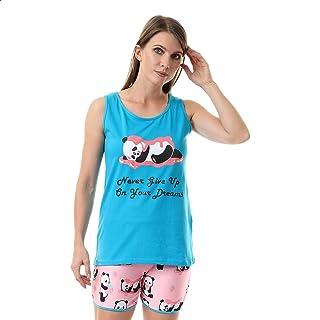 Andora Cotton Panda Print Round Neck T-shirt with Hot Shorts Pajama Set for Women