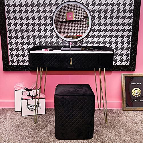 Tavoletta da toeletta in velluto con sensore touch a LED, colore nero