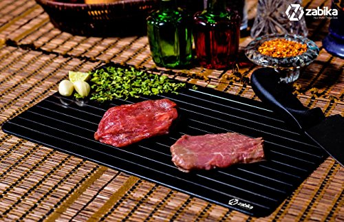 Defrosting Tray (Largest Size) for rapid thaw - Best kitchen thawing tray - Better than heating tray - Safe to defrost meat frozen food pork chops, lamb chops, chicken, fish - No electricity required