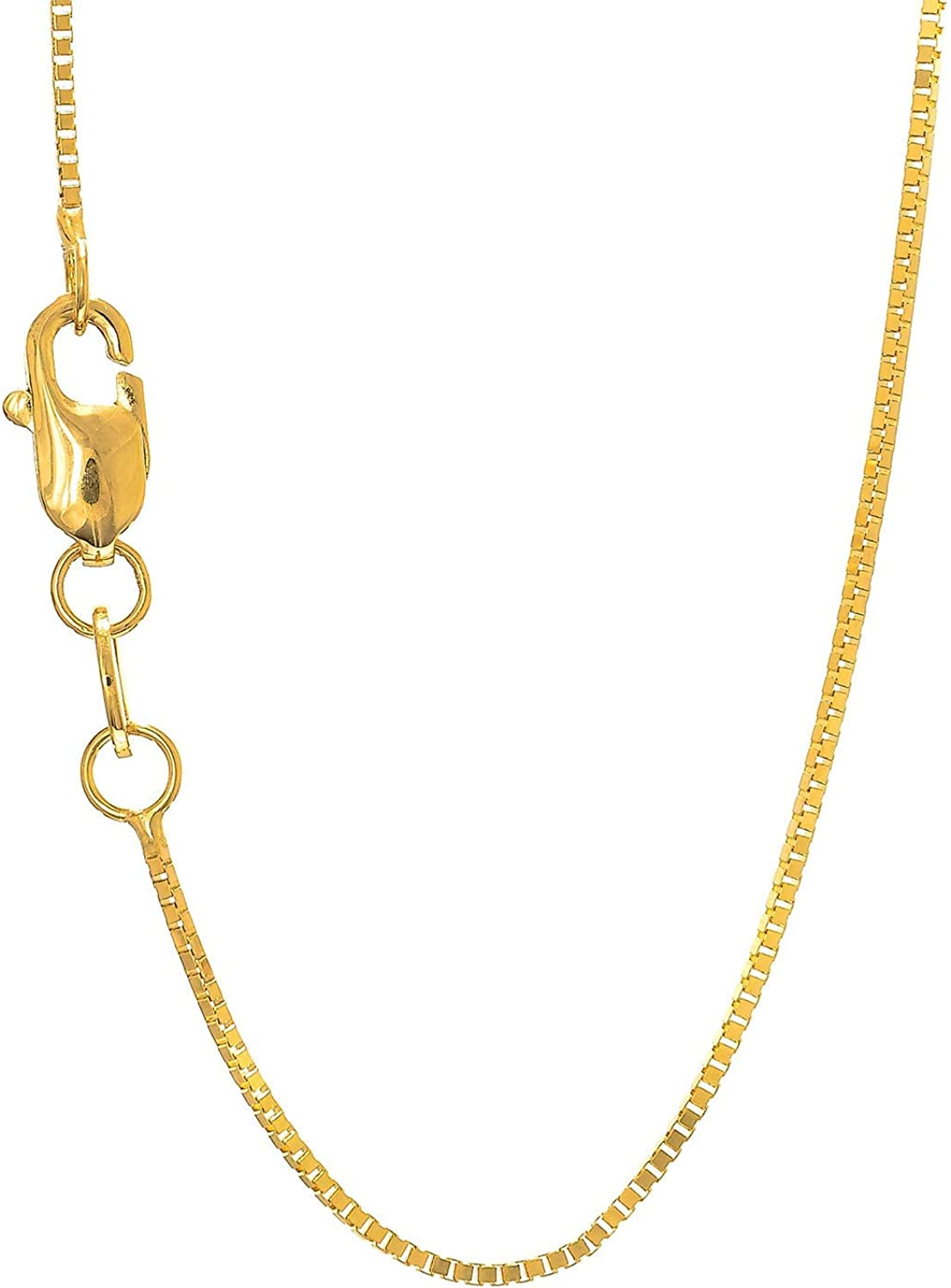 JewelStop 14k Solid Gold Yellow White Or Rose 0.7mm Box Chain Necklace - 16 18 20 22 24